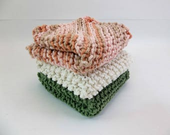 Knit Cotton Wash / Dish Cloths Set of 3 Variegated Sand and Coral Forest Green and Natural