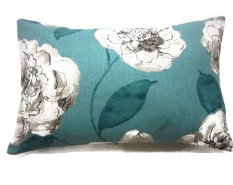 Decorative Pillow Cover Bold Floral Design Lumbar Turquoise Linen Brown Same Fabric Front/Back Toss Throw Accent 12x18 inch x
