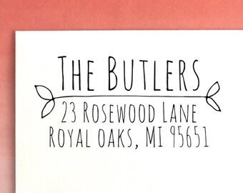 Rustic Return Address Stamp | Housewarming gift | Return Address labels | Custom Rubber Stamp | Address Stamp | Custom Address Stamp, No. 51