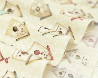 Cotton Fabric Bird House - Ivory - By the Yard 45120