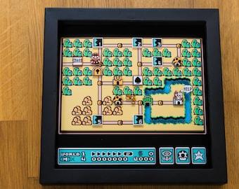 Super Mario 3 - World Map - SNES Shadowbox