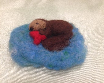 Sea Otter, Needle Felt, Ocean, handmade,Home,Office,Decoration,Animal,Sea,Little,Cute,Gift,Fish,Mammel,Marine Life,Accent,Waldorf
