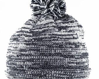 Diamond Embroidered Pom Pom Winter Cuff Long Beanie Hat-Heather Grey