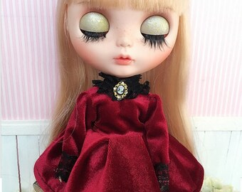Victorian Cameo Velour Dress for Blythe Doll - 4 colors