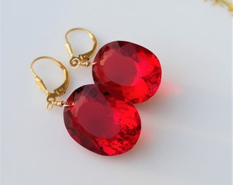 Topaz Earrings -Red Topaz Earrings-Topaz Gold Earrings-Novermber Birthstone-Topaz Jewelry-Red Earrings