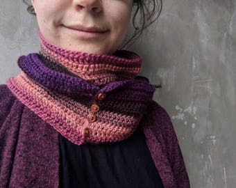 Short scarf or cowl with buttons | scarf, cowl, handmade scarf, crochet scarf, scarf with buttons, orange purple pink scarf