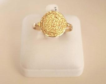 14 karat gold ring,Phaestos design,Ancient symbol