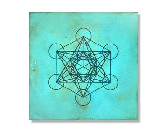 Metatrons Cube in Turquoise | Metal Wall Art