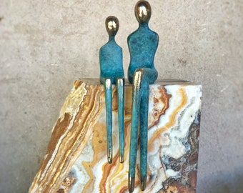 Mother and Baby Blue | A Unique Gift for Mom | Bronze Sculpture | Figures with Blue Patina | One of a Kind Onyx Stone Plinth | By Yenny Cocq