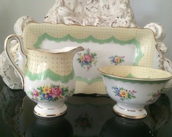 Crown Royal Albert Prudence Sugar Creamer and Tray Set - Green with Roses Vintage c.1927-1935 - Like New!