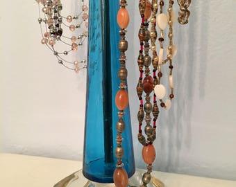 Blue glass necklace stand - necklace holder - necklace display - jewelry organizer - jewelry storage - jewelry display - retail display