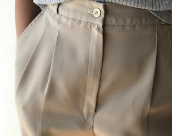 Vintage Khaki High Waisted Trousers with Tapered Legs