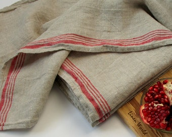 Flax Dish Towel. 100% Linen Tea Towel / Kitchen Towel / Hand Towel. Grey with Red Stripe. Vintage Rustic style Heavy Lithuanian Linen