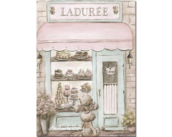 Vintage French Patisserie Watercolor Print, Laduree Paris, Blush Pink, Shabby Chic, 6 Sizes - 5x7 to 24x36 Poster, Paris Bedroom Decor
