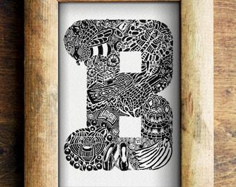 Letter B New Baby Gift/ Christening gift/ Naming Day Gift/ Nursery Art/ Alphabet/ Digital Download