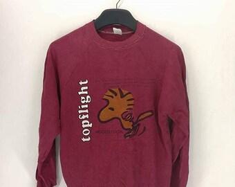Sale !!! Vintage Peanuts Snoopy Woodstock Pullover Crewneck Sweatshirt