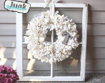 Beautiful Shabby Chic rag wreath | hand-torn muslin, duck cloth | shimmery burlap lace rustic metal | door decor, wall decor | neutral