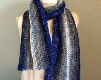 Free shipping-blue crochet scarf- Crochet scarf- cotton blend scarf-Scarf-Ocean inspired- Light and comfortable scarf
