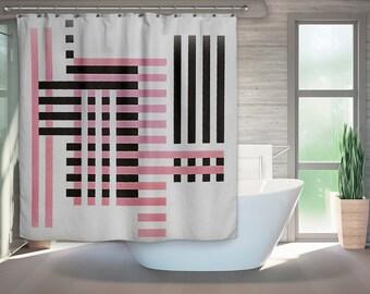 Mid Century Modern, Shower Curtain, Retro Bath, Modern Bath, Bauhaus, Retro