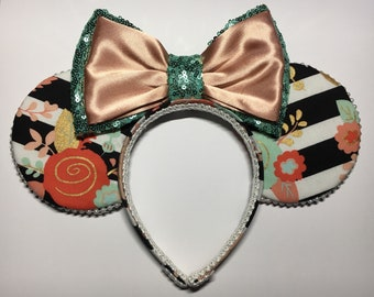 Shabby chic inspired ears, Coral ears, Mint ears, sequins, Rose Gold