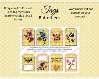 Printable Tags Digital Summer Butterbees