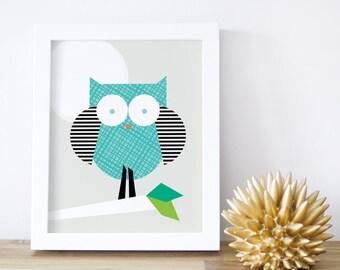 Kids Wall Decor, Owl Print, Nursery Wall Art, Black, Baby Decor, Owl Decor, Children Artwork, Woodland, 8x10 16x20. Little Owl Print
