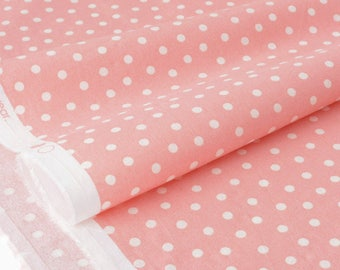 Fabric American white dots background pink x 50cm