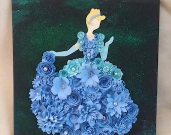 Princess silhouette art, ballgown silhouette art, paper flower art, blue ballgown, fantasy art, kids room art, nursery art, fairy tale art