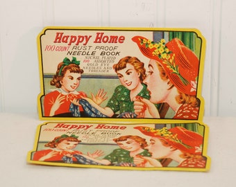 Vintage Happy Home 100 Count Needle Book (c. 1950's?) Vintage Sewing, Sewing Collectible, Nickel Plated Needles, Vintage Graphics, Japan