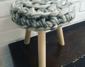 Chunky knit Merino wool and Ash wood Madeleine stool in Silver Streak | Sumptuous treats for your home