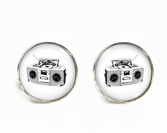 90s Boombox small post stud earrings Stainless steel hypoallergenic 12mm Gifts for her