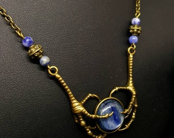 Claws kyanite necklace - gem stone - Goth - steampunk - bird - Crow - clutches - Voodoo - Ouija board - Ravenclaw - ravenclaw