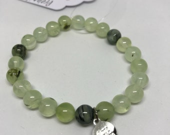 Natural Prehnite Bracelet with Yogal Living Charm, Handmade