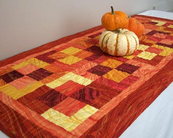 Fall Table Runner Topper Quilt Quilted Nature Sunset Metallic Gold Quiltsy Handmade FREE U.S. Shipping Fall Autumn
