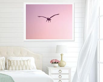 Pink Art Print, Pink Room Decor, Pink Sunset Print, Digital Download, Flying Pelican Print, Pink Pelican, Pink Bedroom Wall Art, Pink Decor