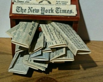 Dolls House Miniature Newspapers Guardian, Observer, New York Times classics 10 in set