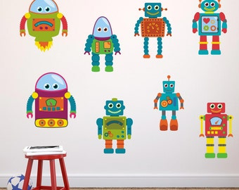 Boys Robot Wall Stickers, Robot Wall Decals, Boys Wall Art, Bedroom Wall Transfers, Fabric Stickers - Removable and Repositionable - FA075
