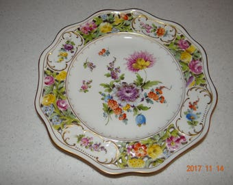 Dresden Flowers scalloped, reticulated porcelain dinner plate