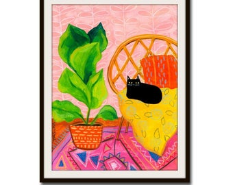 PRINT black cat folk art  PINK room with big fig leaf plant sweet print of painting by artist TASCHA 5x7