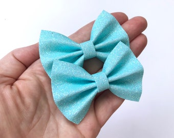 Light Blue Iridescent Glitter Felt Pigtail Hair Bow Set // Spring Easter Piggie Bows Hair Clips // Pigtail Bows Mini Bows Baby Toddler Bow