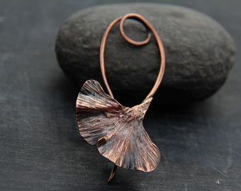 Shawl pin, scarf pin, sweater pin, copper ginkgo leaf shawl pin, brooch, metalwork, rustic, organic, textured, woodland, nature, oxidized