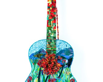 Mixed Media Mosaic, Field of Poppies Guitar, OOAK Mosaic Art Guitar