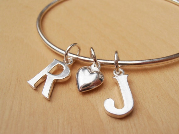 Silver Monogram Bangle With 2 Initials & Silver Heart, Personalized Wedding Or Engagement Gift, Children's Names - Sterling Silver