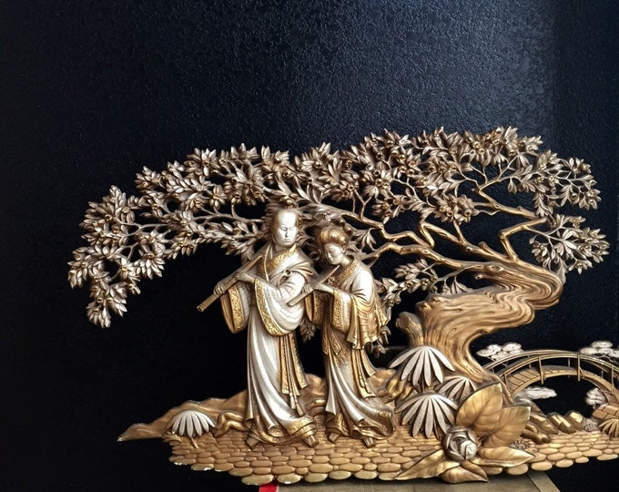 large vintage burwood asian wall hanging plaque / gold / chinese / oriental