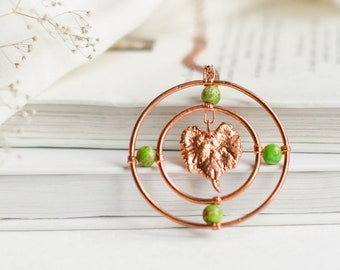 Grape Leaf Necklace with Green Beads, Electroformed Botanical Jewelry, Large Circle Pendant, Copper Anniversary, Forest Elven Jewellery LARP