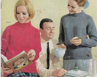 ON SALE Vintage 1960s - Paton's Knitting Pattern No 727  For Women Featuring Jet 12 ply Tripleknit, Jumpers, Sweaters, Jackets.
