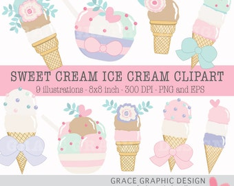 Clipart Ice Cream, Dessert Clipart, Digital Illustrations, Instant Download Clipart Set, Vector Ice Cream, Party Clipart, Birthday, EPS PNG