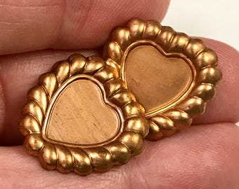 Vintage Raw Copper Metal Heart Stamping Findings for 10x10mm Cabochons  pkg2 m123