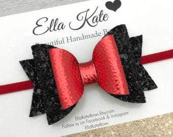 Black bow headband, glitter bow, red headband, bow headband, nylon headband, red bow headband, elastic headband