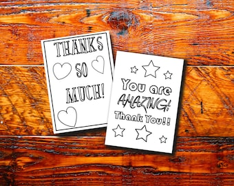 printable thank you notes, kids birthday thank you cards, instant download , color in thank you note, children thank you printable, coloring